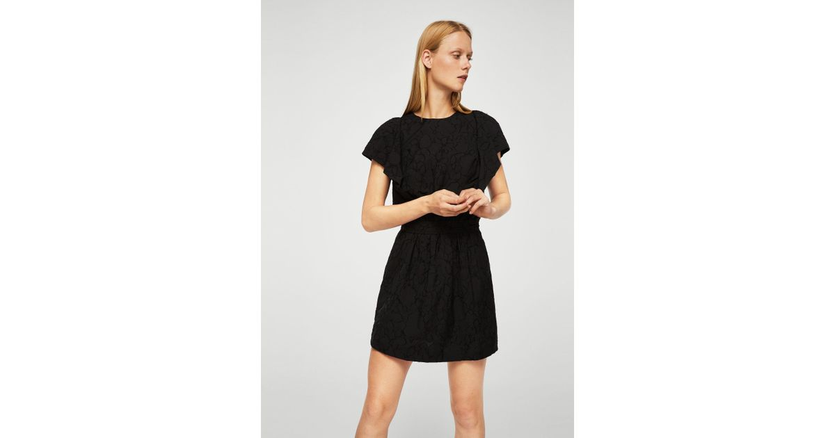 Lyst Mango Ruffled Sleeve Dress In Black