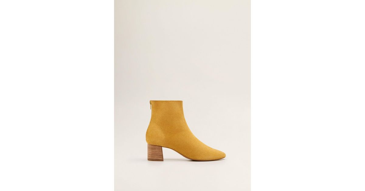 2b5bf6717 Mango Suede Leather Ankle Boots Mustard - Save 51% - Lyst