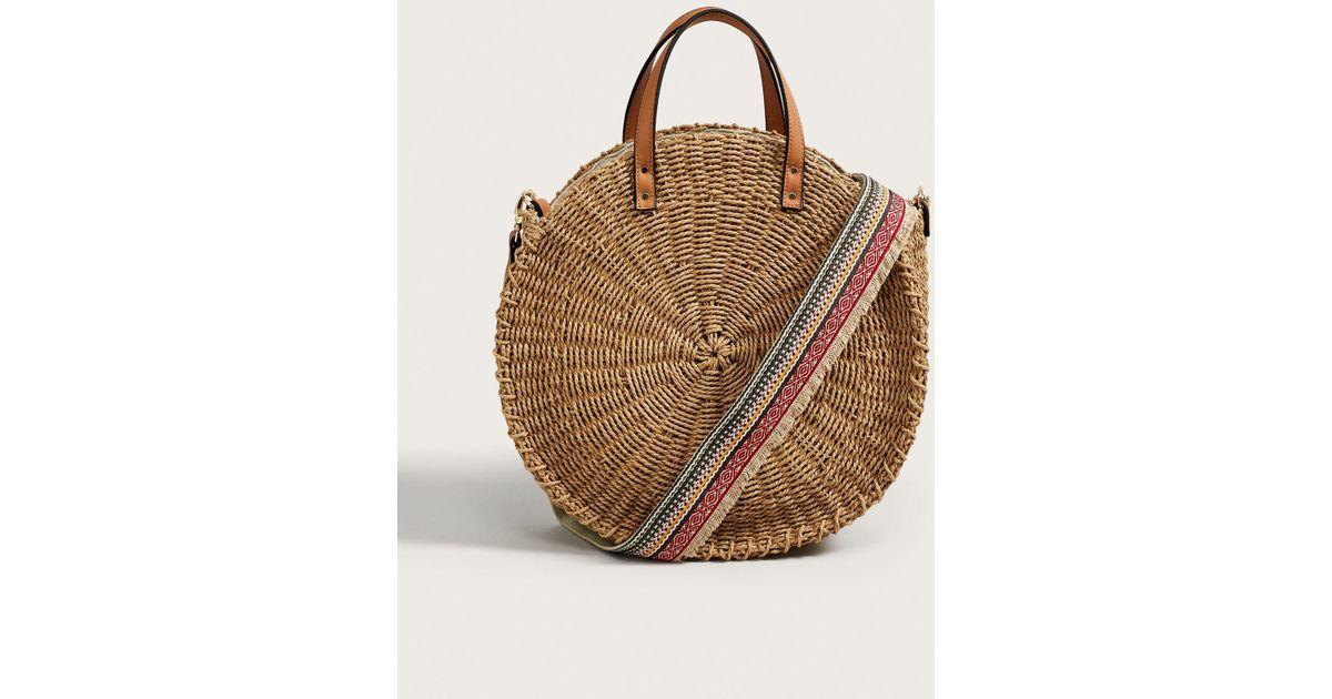 Violeta By Mango Round Raffia Bag In Natural Save 28 57142857142857 Lyst
