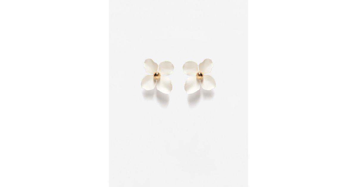 Lyst mango flower beaded earrings in white mightylinksfo