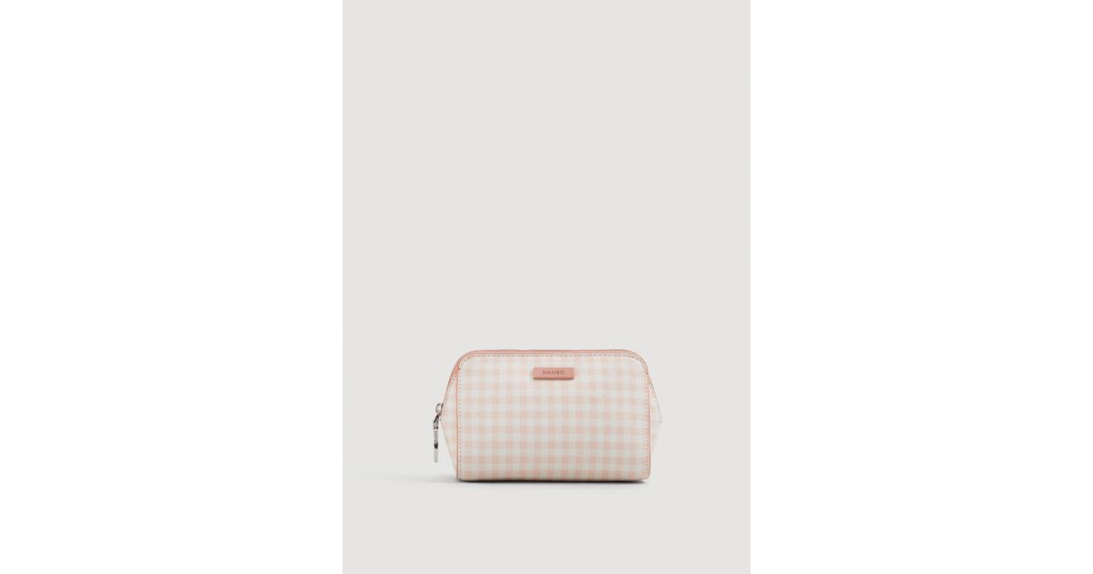 c577935804e3e Lyst - Mango Gingham Check Cosmetic Bag in Pink