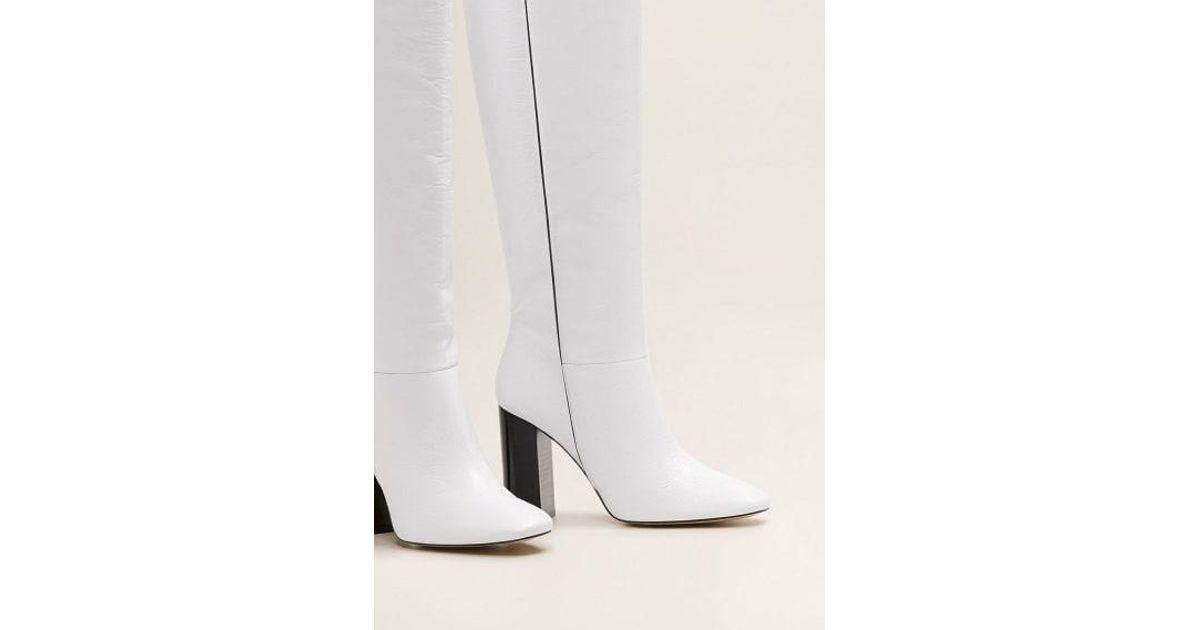 Mango Leather High-leg Boots White - Lyst