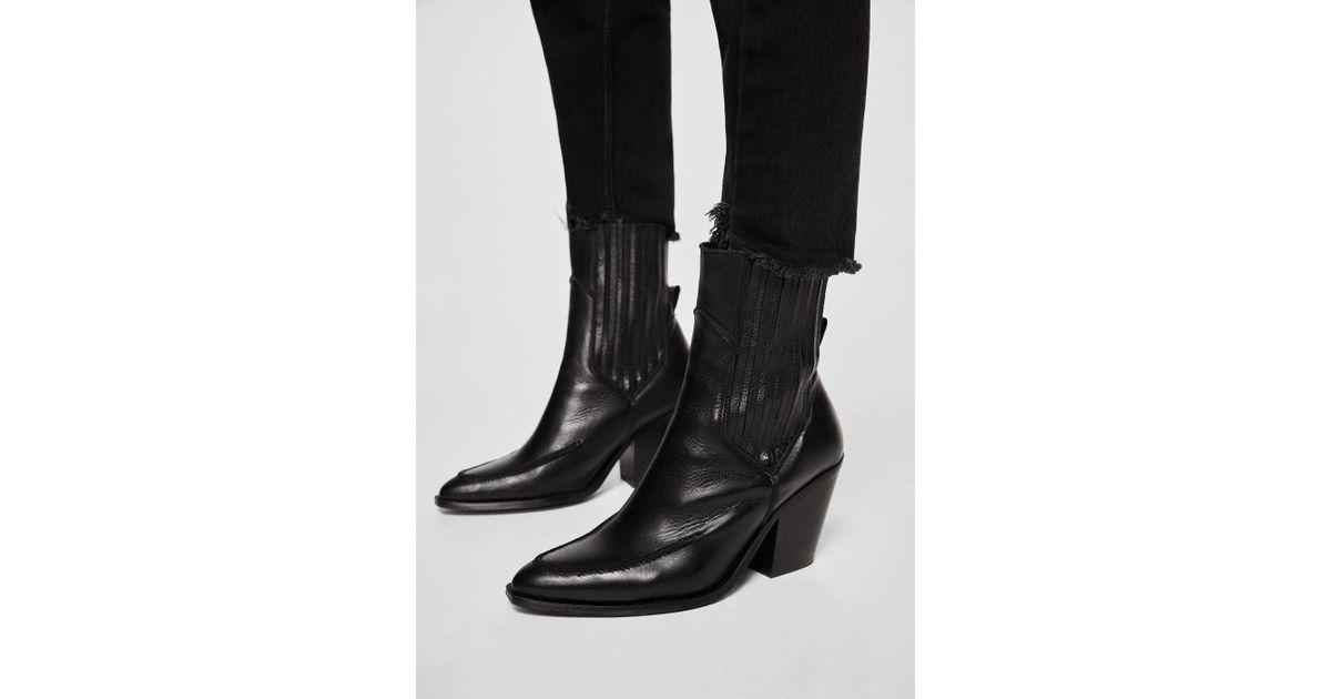 07f36ce4f41 Mango Black Leather Cowboy Ankle Boots