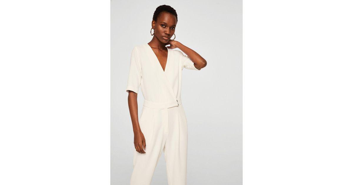 d680ce11f04 Mango Wrap Neckline Jumpsuit in White - Lyst