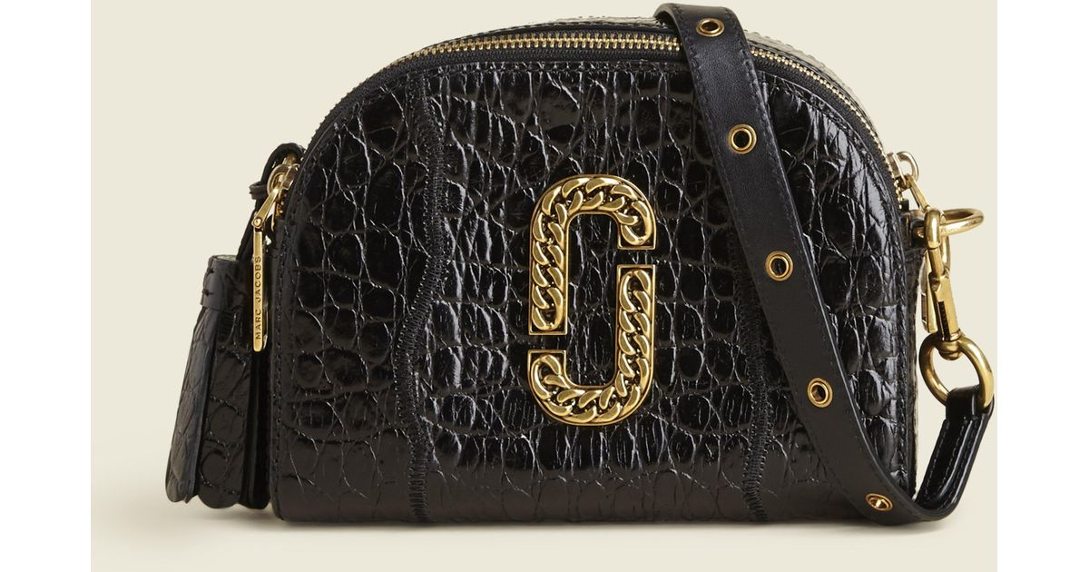 93927529786c Lyst - Marc Jacobs Croc Embossed Shutter Small Camera Bag in Black