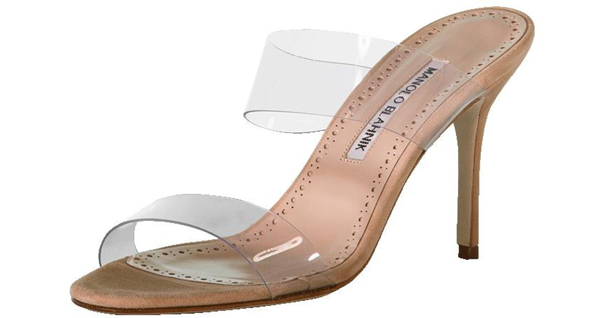 70f8bf5ed48 Lyst - Manolo Blahnik Clear Strap Mule in Natural