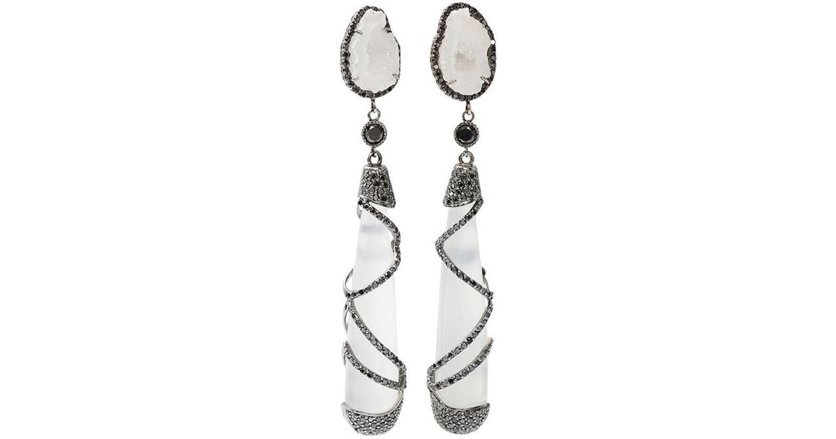 rough sterling astrophyllite ana quartz by silver products white earrings handcrafted co