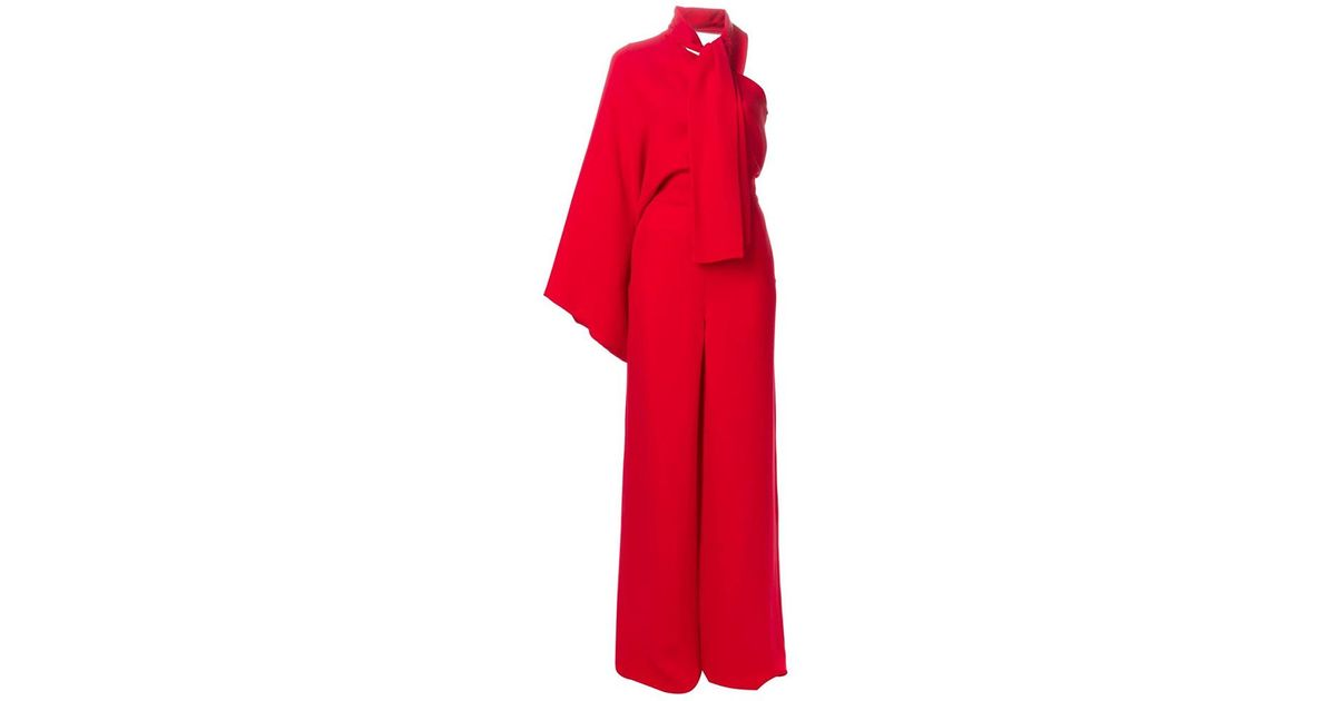 23a6c8a84f Lyst - Valentino One Shoulder Jumpsuit in Red