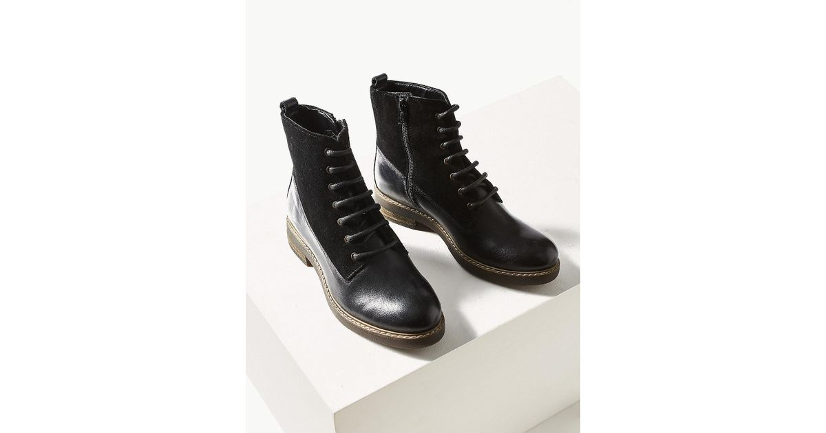 21a9d50336a5 Lyst - Marks   Spencer Leather Panel Lace-up Ankle Boots in Black