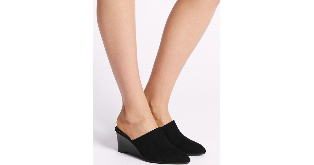 07d707bca3d Lyst - Marks   Spencer Wedge Heel Mule Shoes in Black