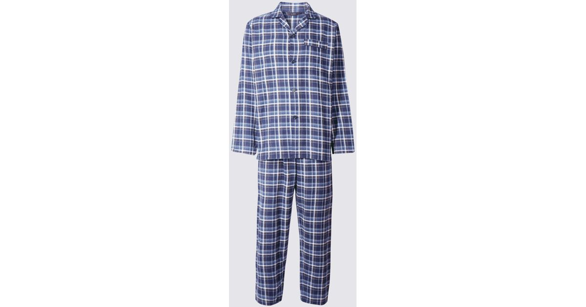 b16682fd0d Marks   Spencer Big   Ta Pure Bruhed Cotton Pyjaa Et in Blue for Men - Lyst