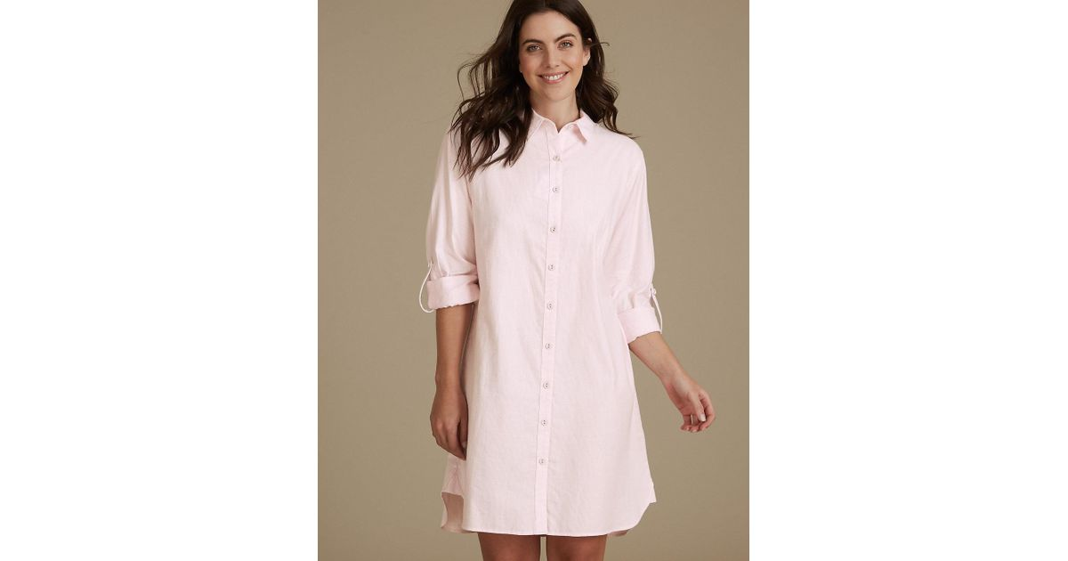 6102095cc1 Lyst - Marks   Spencer Pure Cotton Striped Nightshirt in Pink