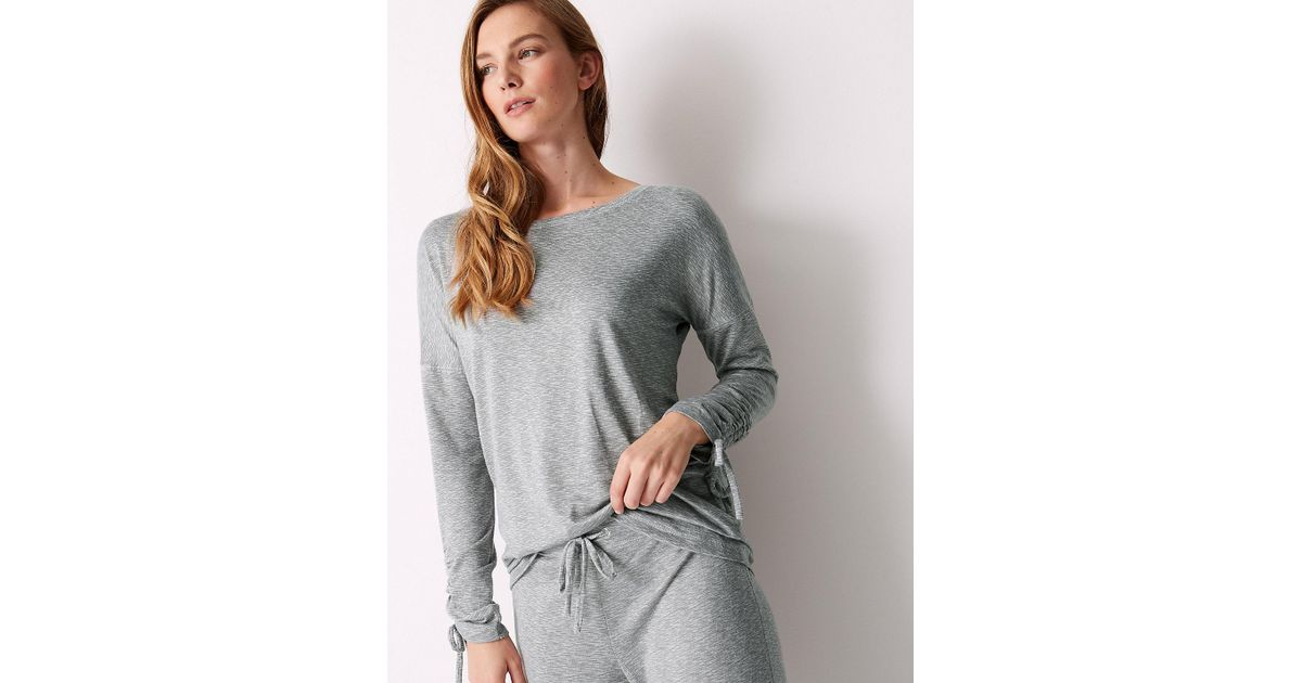 Lyst - Marks   Spencer Textured Long Sleeve Pyjama Top in Gray 1d50273e9