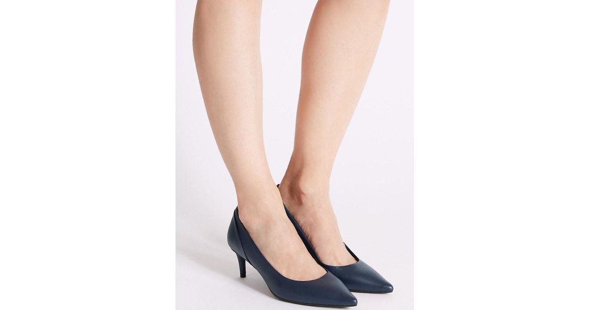 0829d29ec56 Lyst - Marks   Spencer Kitten Heel Pointed Toe Court Shoes in Blue