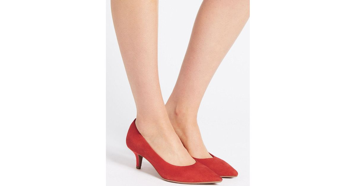 febf283fc80 Marks & Spencer Red Wide Fit Suede Kitten Heel Court Shoes
