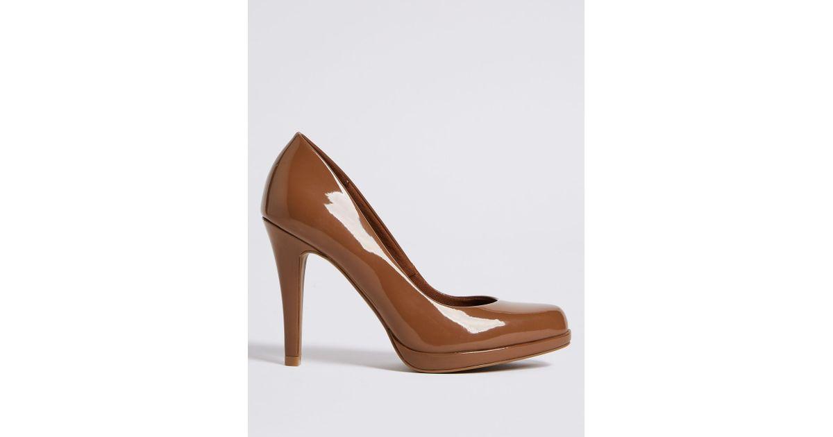 938b8f71060 Marks & Spencer - Brown Stiletto Heel Platform Skin Tone Court Shoes - Lyst