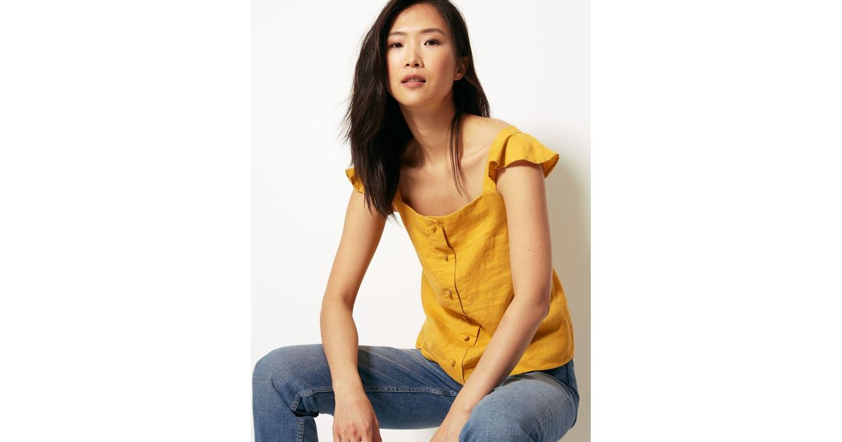 17c4fe8de3 Marks & Spencer Pure Linen Camisole Top Yellow