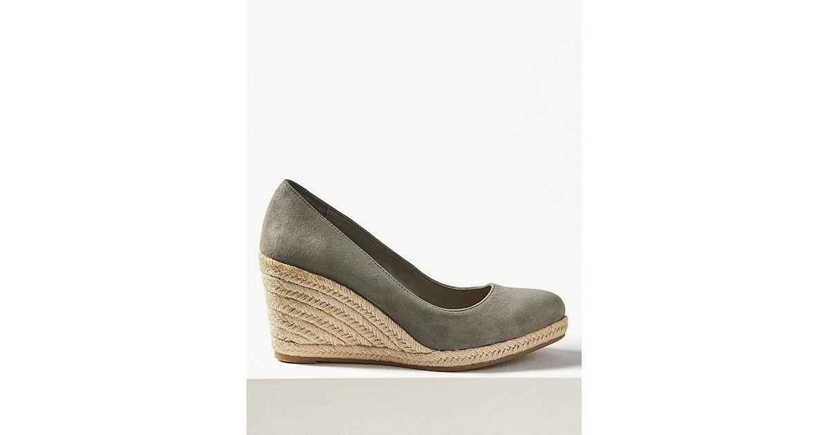 27a47ce5472 Marks & Spencer Blue Suede Wedge Heel Almond Toe Espadrilles