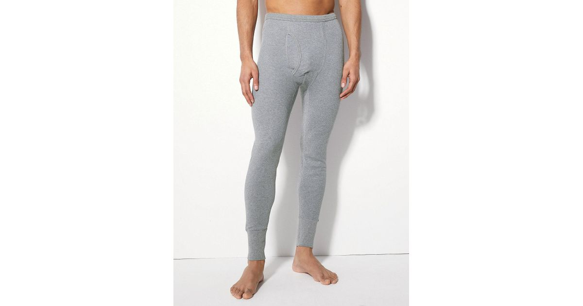 7adb29ce7 Marks & Spencer Gray Thermal Cotton Blend Long Johns for men
