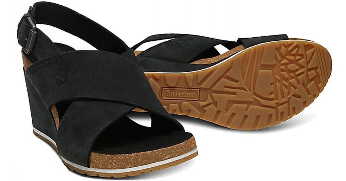 0b4c3dca71c Timberland Capri Sunset Cross Band Wedge Sandals in Black - Lyst