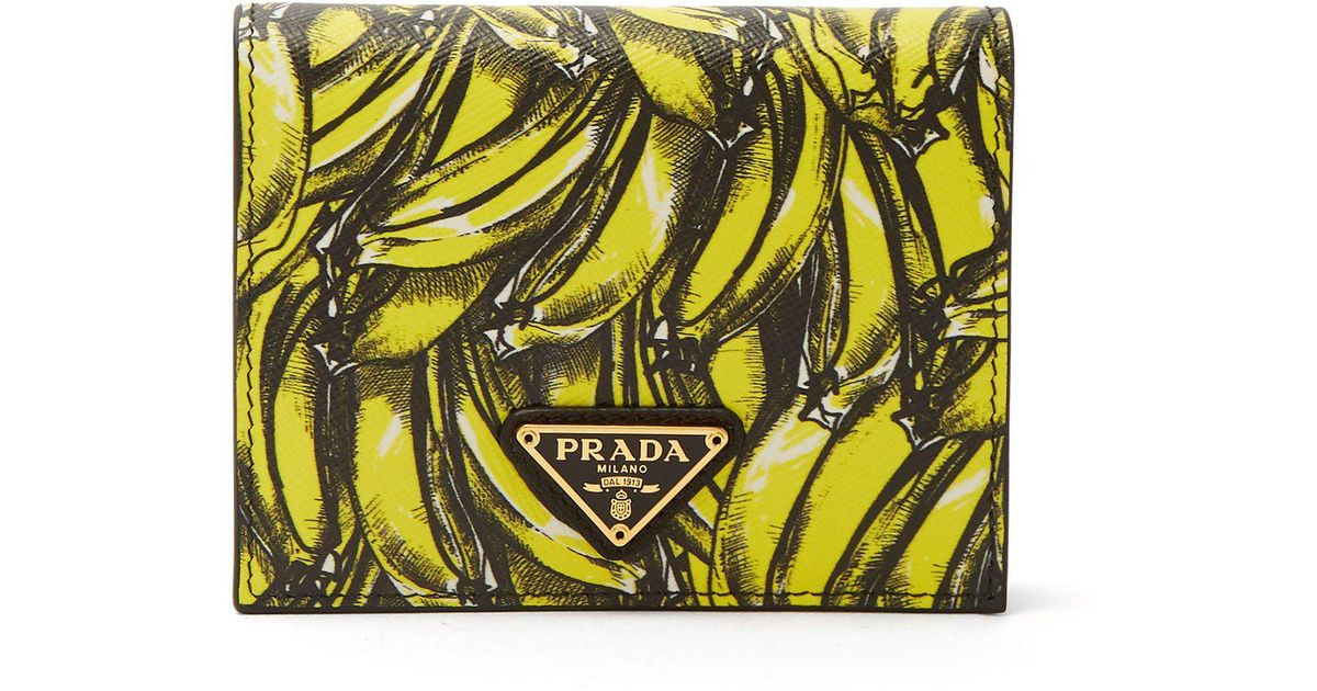 6068e643 Prada Yellow Banana-print Saffiano-leather Wallet