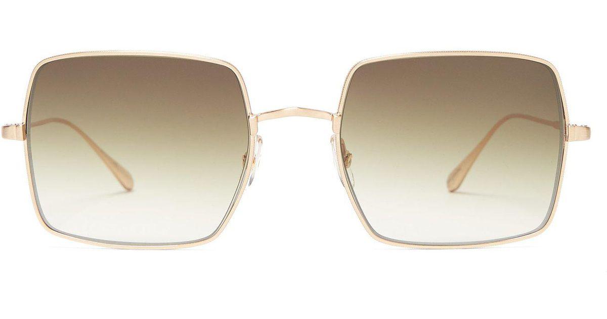 22b6ffa1cf Lyst - Garrett Leight Crescent Square Frame Sunglasses in Green