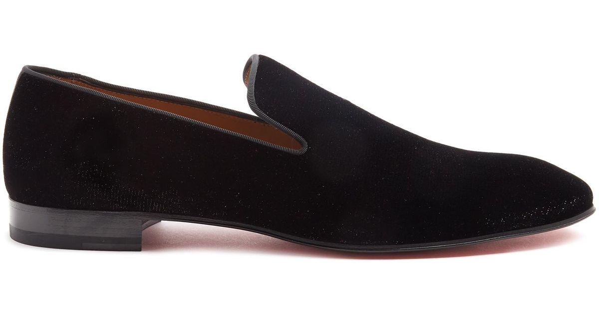 bc8f6f20fd0 Lyst - Christian Louboutin Dandelion Glittered-velvet Loafers in Black for  Men