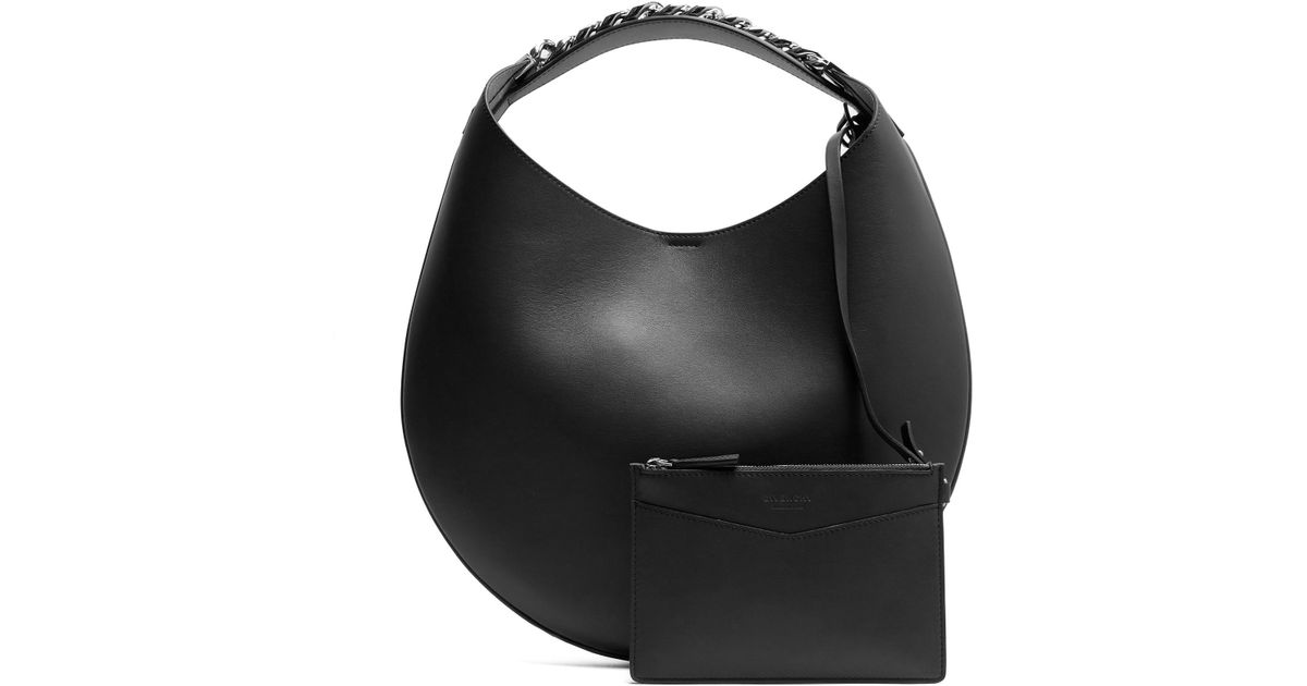 Lyst - Givenchy Infinity Small Leather Chain Hobo Bag in Black 2787487d9f46f