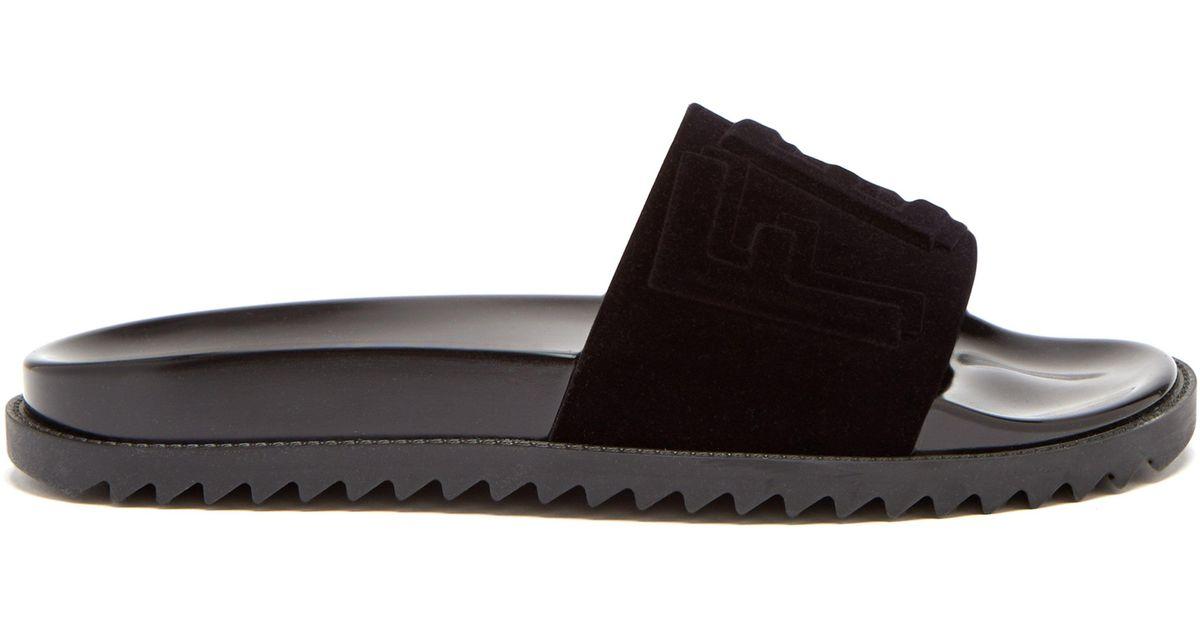 b9b7a17f702279 Fendi Logo Embossed Velvet Slides in Black for Men - Lyst