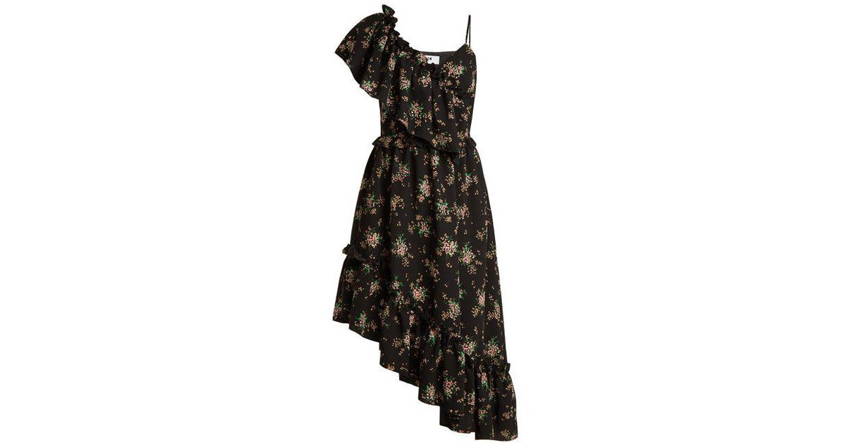 Collections Cheap Price Floral-print asymmetric ruffled dress Msgm Free Shipping How Much Buy Cheap Huge Surprise Best Place For Sale XXYDaeHN