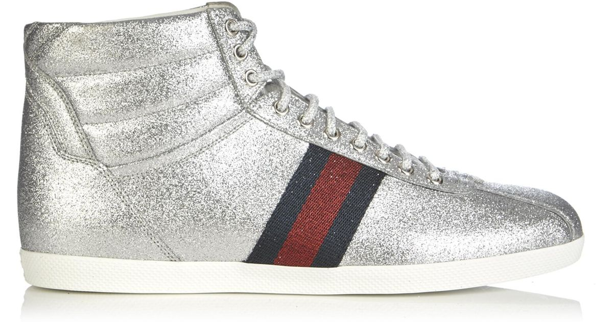 37ae300143d Lyst - Gucci Bambi Glitter High-top Trainers in Metallic for Men