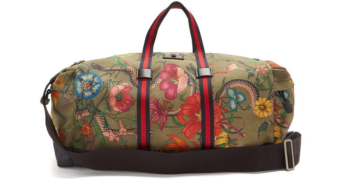 5bcff3c701f Lyst - Sac de sport à bandes Web et imprimé floral Gucci pour homme