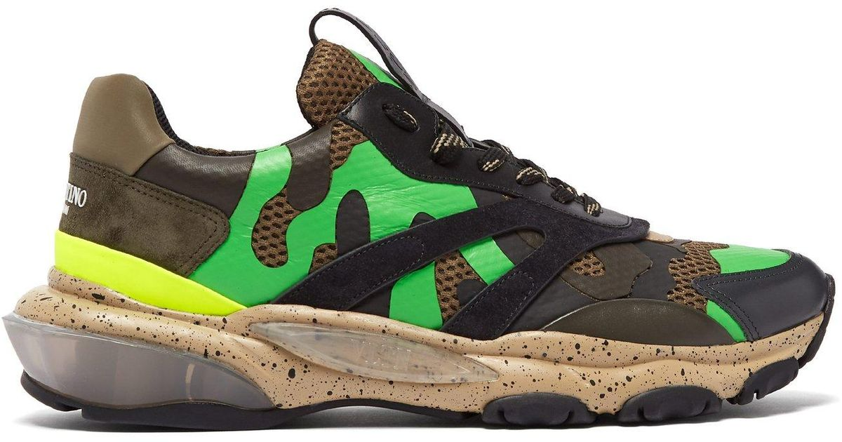 6cd2c58ff Lyst - Valentino Bounce Raised Sole Low Top Leather Trainers in Green for  Men