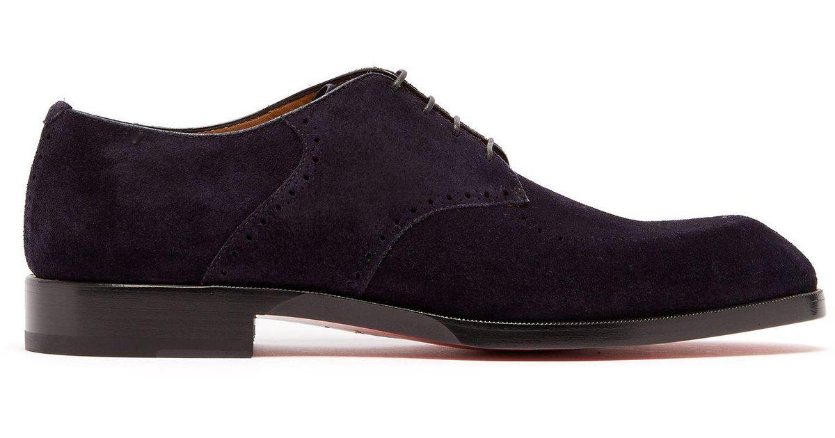 tout neuf fb7cc b925f Christian Louboutin Blue A Mon Homme Suede Derby Shoes for men