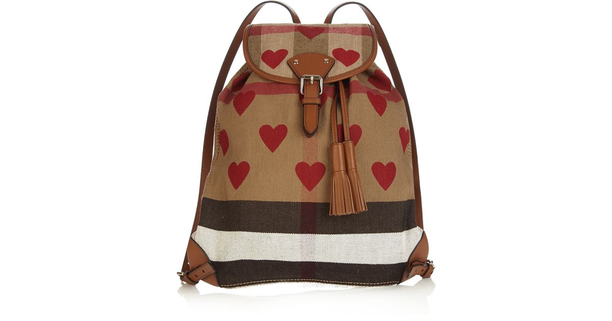 673caf3b85d8 Lyst - Burberry Heart-print Canvas Checked Backpack