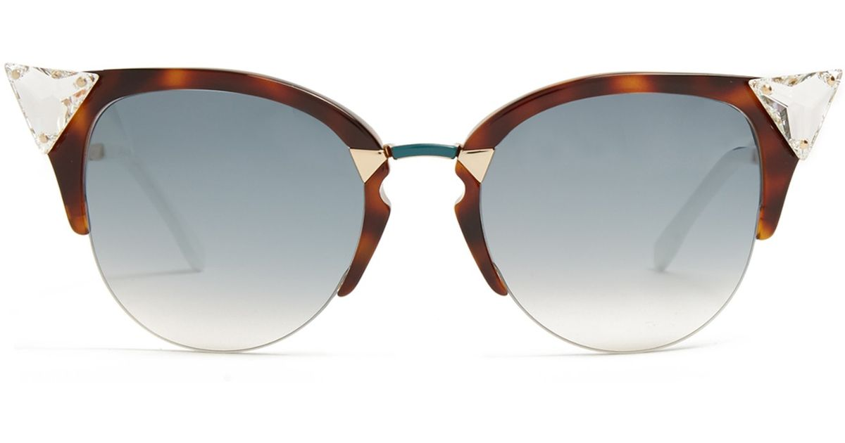 Fendi Cat-eye Half-frame Sunglasses in Gold (TORTOISESHELL ...