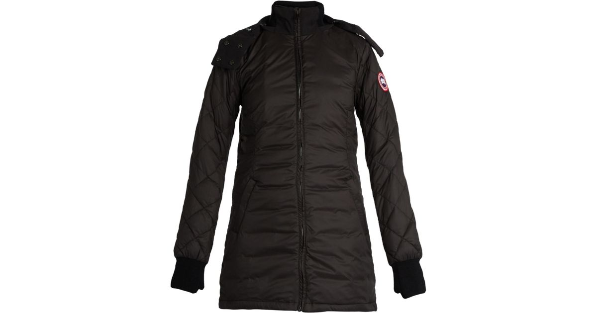 Canada Goose Stellarton Hooded Quilted Down Coat In Black