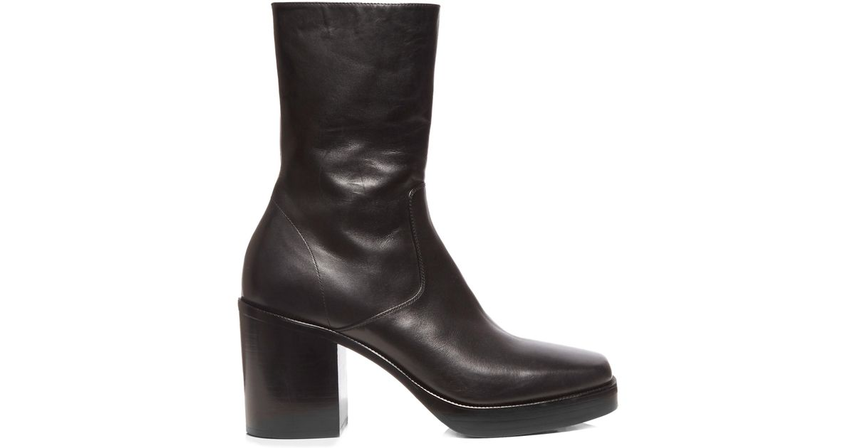 Balenciaga Leather Platform Boots in