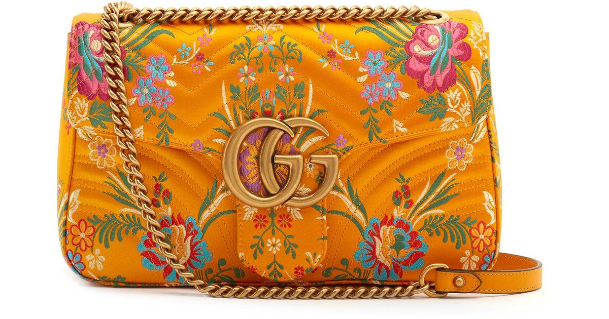 70c899b51e1ffd Gucci Gg Marmont Floral-jacquard Shoulder Bag in Yellow - Lyst