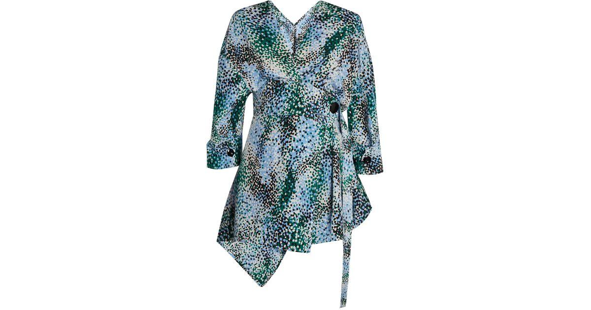 746d45c6288789 Lyst - Marni Mist-print Silk-crepe Wrap Top in Blue