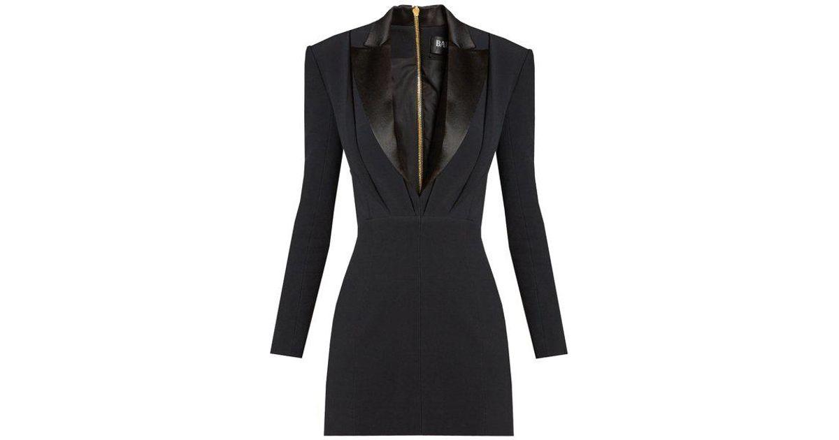 8287ab638317 Balmain Satin-lapel Mini Tuxedo Dress in Black - Lyst