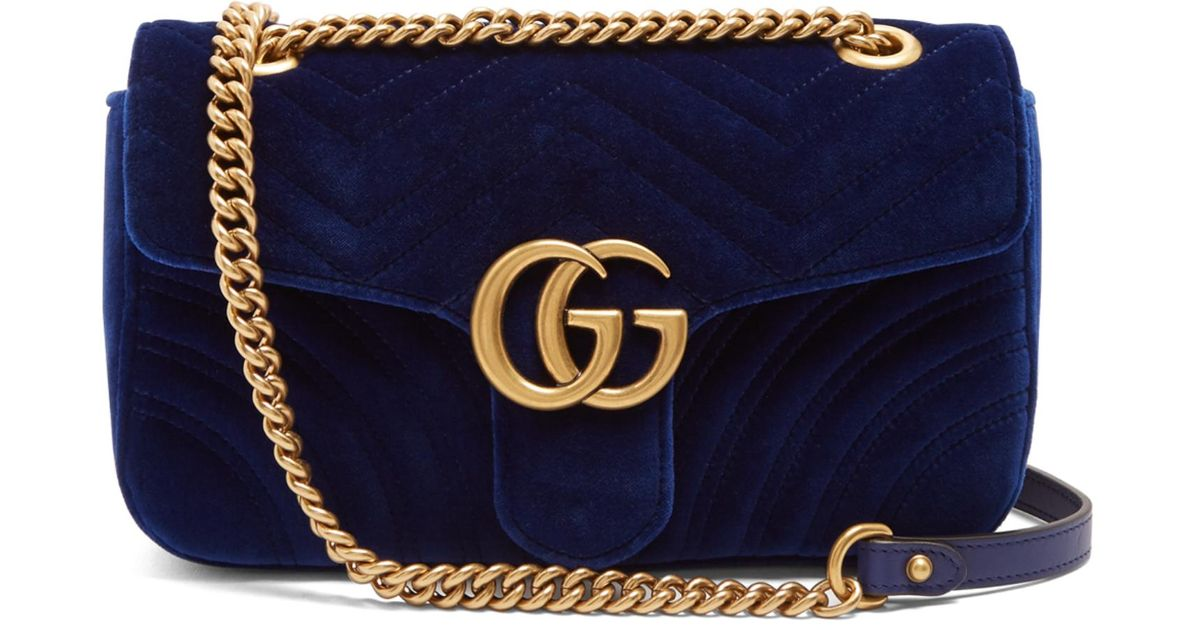 7a9bf80c3fd8 Gucci Gg Marmont Quilted-velvet Cross-body Bag in Blue - Lyst