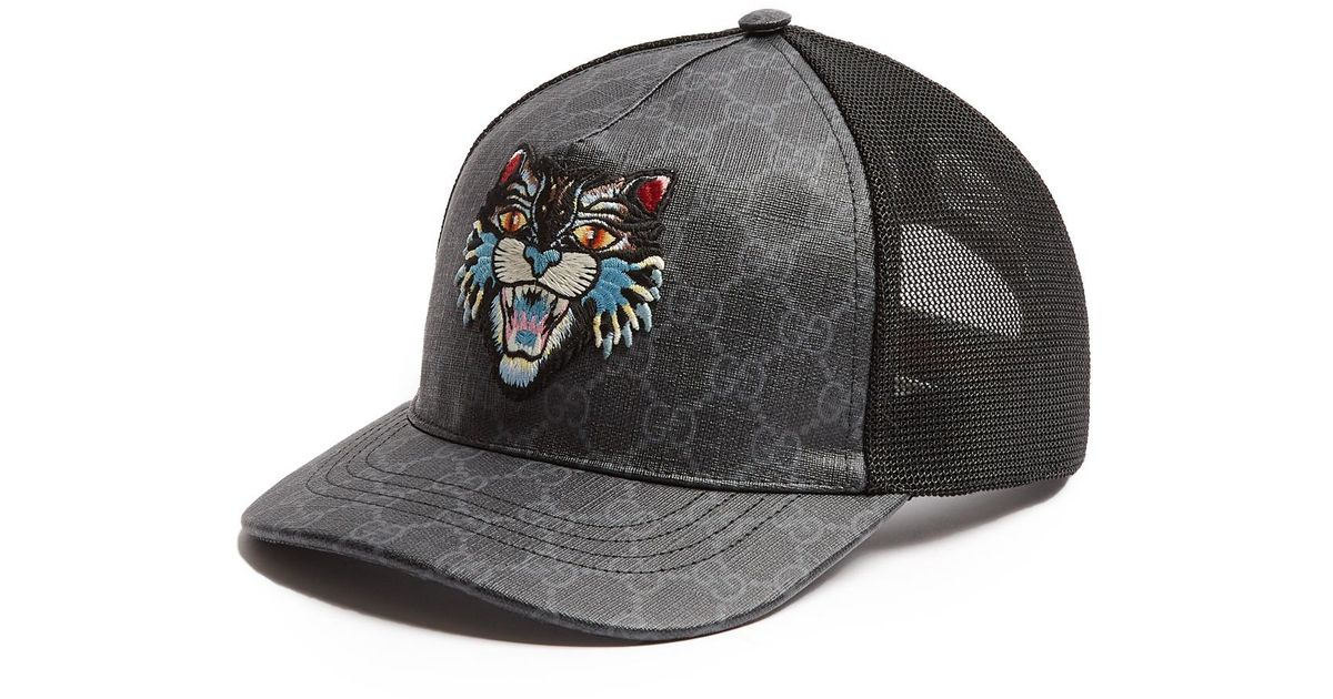 764844c175ef3 Gucci Angry Cat-embroidered Baseball Cap in Black for Men - Lyst