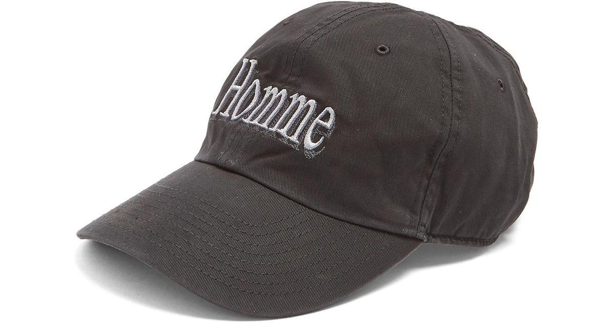 pas cher pour réduction 92fde 4d1d1 Balenciaga Black Homme-embroidered Cotton-twill Cap for men