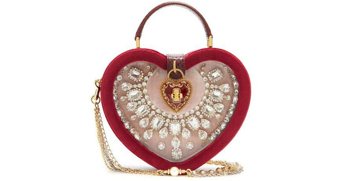 Lyst - Dolce   Gabbana Crystal-embellished Heart-shaped Bag in Red e5d2725ae69ea