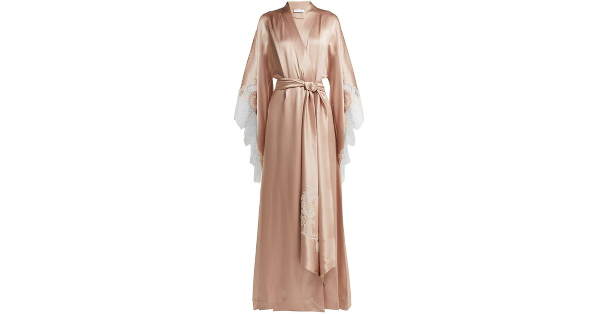 Lyst - Carine Gilson Lace Embroidered Silk Satin Robe in Pink 9e0226d63