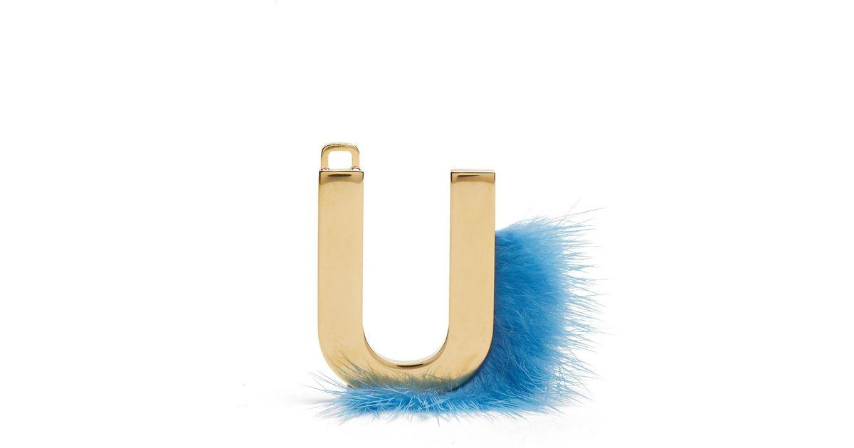 lyst fendi abclick letter u key charm in metallic