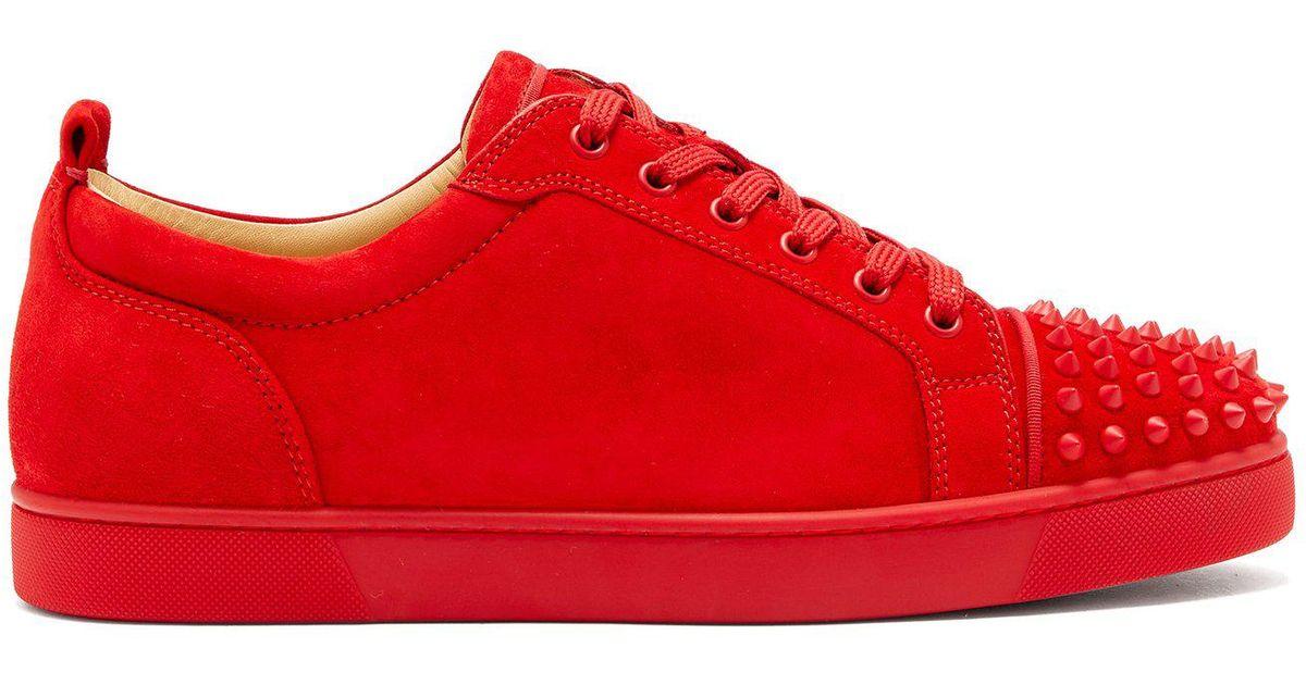meilleur site web f558b 750a7 Baskets en suede rouges Louis Junior Spikes Christian Louboutin pour homme  en coloris Red