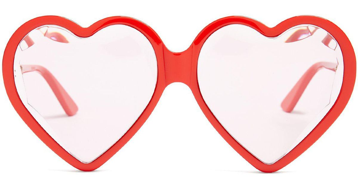 Lyst - Gucci Heart-shaped Frame Sunglasses in Red