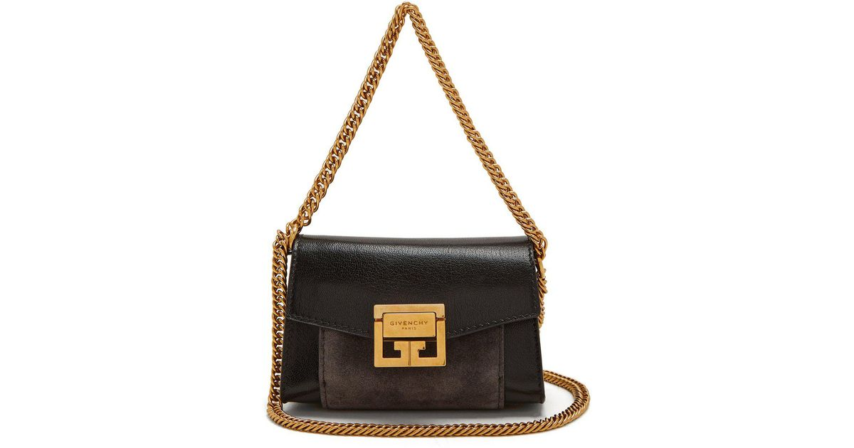 1145ba3b1701 Givenchy Gv3 Nano Suede And Leather Belt Bag in Black - Lyst